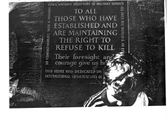 Commemoration stone for conscientious objectors in Tavistock Square, London. Photo: Peace Pledge Union