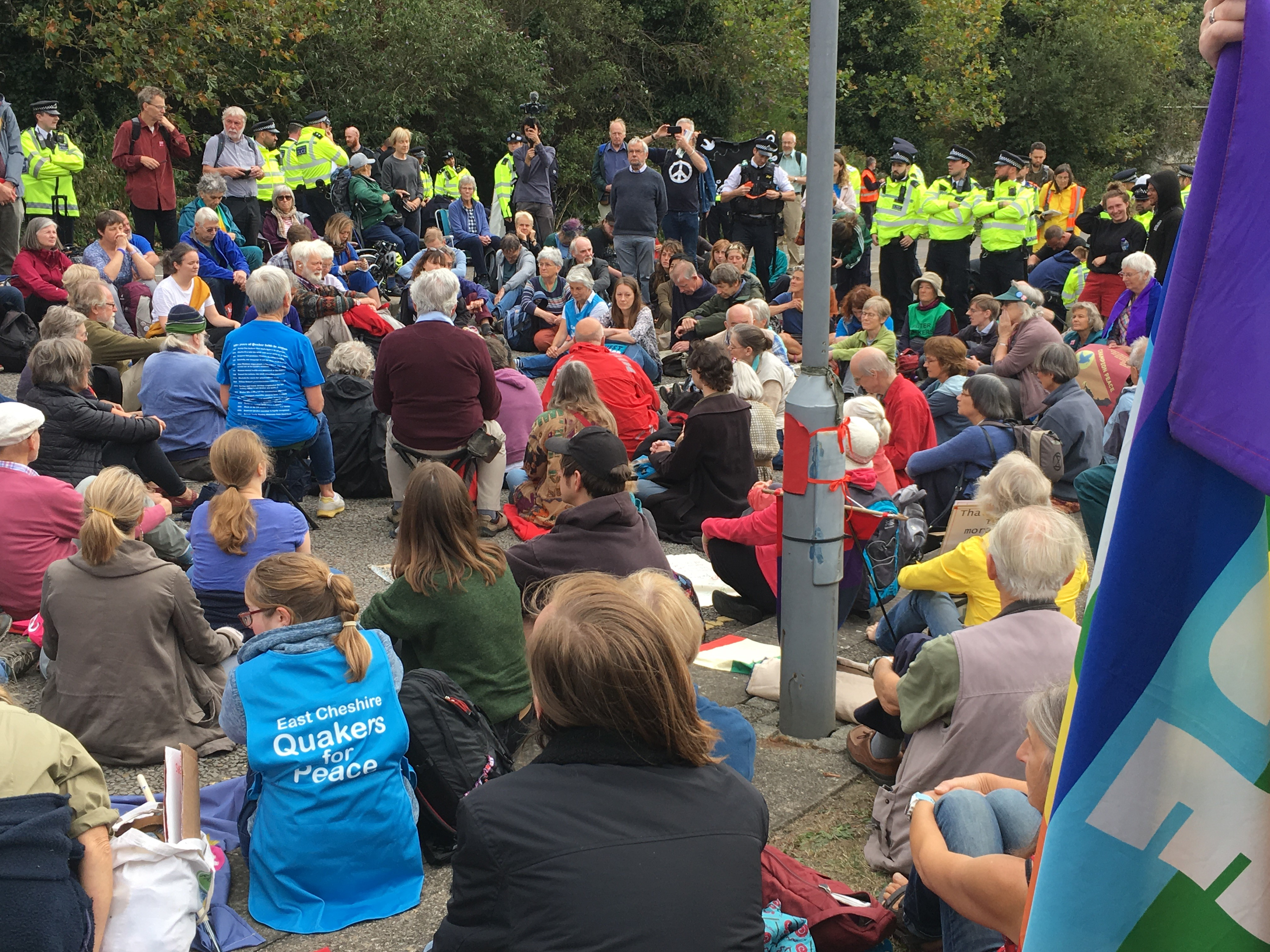 Meeting for Worship at the Arms Fair Protest 2019